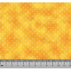 Tecido Tricoline Poá Branco com Poeira - Fundo Amarelo - Preço de 45 cm X 150 cm