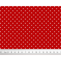 Tecido Tricoline Micro Poá Branco - Fundo Vermelho - Preço de 50 cm x 150cm
