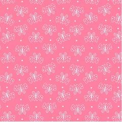 Tecido Tricoline Mini Borboletas - Fundo Rosa Chiclete - Preço de 50 cm x 150 cm