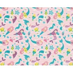 Tecido Tricoline Sereias - Fundo Rosa - Preço de 50 cm X 150 cm