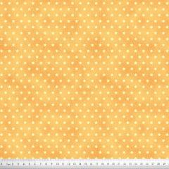 Tecido Tricoline Mini Estrelas - Fundo Poeira Pêssego - Preço de 50cm x 150cm