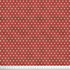 Tecido Tricoline Mini Estrelas - Fundo Poeira Tijolo - Preço de 50cm x 150cm