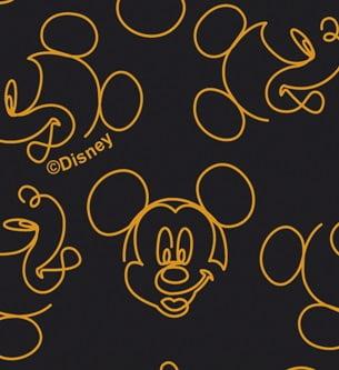 Tecido Tricoline Mickey Contorno Laranja - Fundo Preto - Coleção Disney - 40 cm