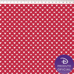 Tecido Tricoline Mini Minnie Mouse - Fundo Vermelho - Coleção Disney - Preço de 50 cm x 150 cm