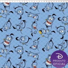 Tecido Tricoline Gênio do Alladin - Fundo Azul - Coleção Disney - Preço de 50 cm x 150 cm