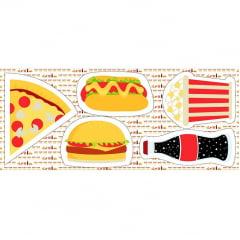 Tecido Tricoline - Pillows - Fast Food - 60 cm x 150 cm