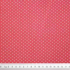 Tecido Tricoline Poá Branco Médio - Fundo Rosa Primavera - Preço de 50 cm x 150 cm