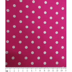 Tecido Tricoline Poá Branco Médio - Fundo Rosa Pink