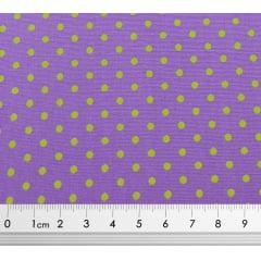 Tecido Tricoline Poá Pequeno Amarelo e Fundo Rosa - Preço de 50 cm X 150 cm