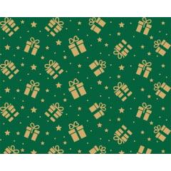 Tecido Tricoline Presentes Natal - Fundo Verde com Estrelinhas Douradas
