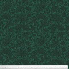 Tecido Tricoline Renda - Fundo Verde Exército - Preço de 50 cm x 150 cm