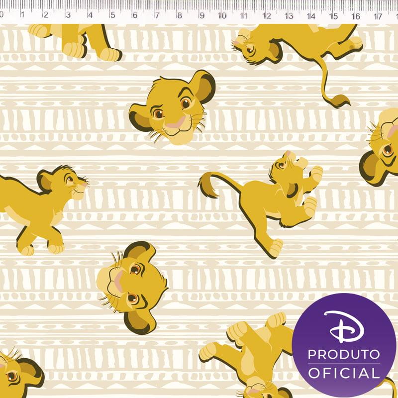 Tecido Tricoline Simba - Fundo Textura Creme - Disney - Preço de 50 cm x 150 cm