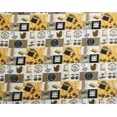 Tecido Tricoline Café em Quadros Amarelo - Fundo Creme - Preço de 50cm x 150cm