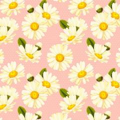 Tecido Tricoline Daisy com Poá - Fundo Rosa - Coleção Miss Daisy