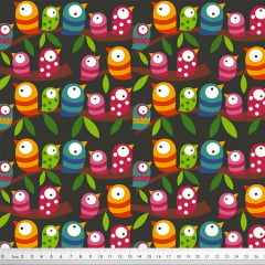 Tecido Tricoline Fileira de Pássaros - Fundo Preto - Coleção Colors - Preço de 50 cm x 150 cm