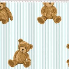 Tecido Tricoline Urso com Listras Azul Claro - Fundo Branco - Coleção Teddy Bear