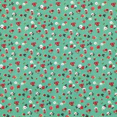 Tecido Tricoline de Mini Floral - Fundo Verde