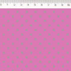 Tecido Tricoline de Poá Prata com Fundo Rosa - Preço de 50 cm X 150 cm