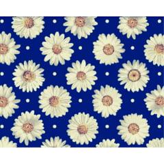 Tecido Tricoline de Margarida - Fundo Azul