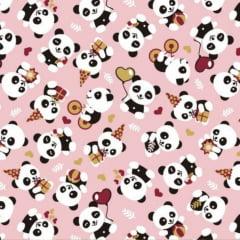 Tecido Tricoline Panda Festa - Fundo Rosa - Preço de 50 cm x 150 cm