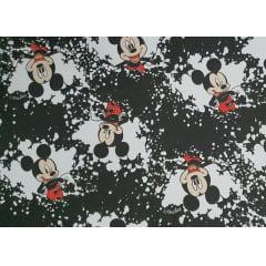 Tecido Tricoline do Mickey Fun - Fundo Preto e Branco - Coleção Disney - Preço de 50 cm x 150 cm