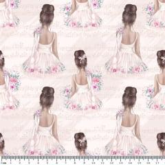 Tecido Tricoline Digital - Bailarina Vintage - Fundo Rosa