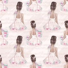Tecido Digital - Bailarina Vintage - Fundo Rosa