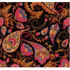 Tecido Digital Cashmere e Floral - Fundo Preto - Preço de 50cm x 150cm