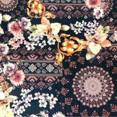 Tecido Digital Floral E Mandala - Fundo Preto