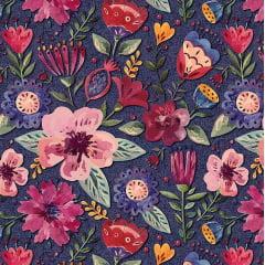 Tecido Digital Floral Elegance - Fundo Marinho - Coleção Elegance