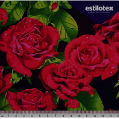Tecido Digital Floral Rosas Pink (Fundo Preto)
