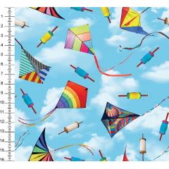 Tecido Digital Pipas Coloridas - Fundo Azul - Preço de 50 cm x 150 cm