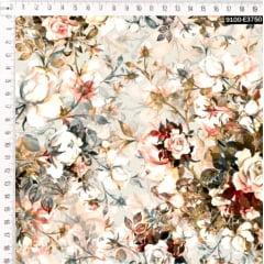 Tecido Tricoline Digital Adele - Fundo Cru
