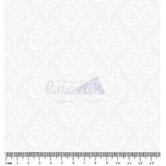 Tecido Tricoline Arabesco Branco - Fundo Gelo - 40 cm