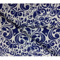 Tecido Tricoline Arabescos Azul Marinho- Fundo Branco - Preço de 50 cm X 150 cm