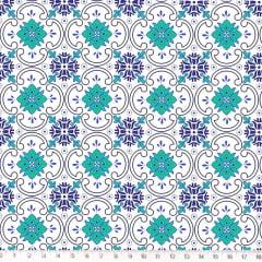 Tecido Tricoline Azulejo Azul e Verde - Fundo Branco