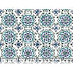 Tecido Tricoline Azulejo Azul - Fundo Branco
