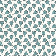 Tecido Tricoline Balões de Corações Jade - Fundo Branco - Coleção Sonho e Magia