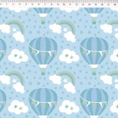 Tecido Tricoline Balões, Nuvens e Arco Íris - Fundo Azul Claro - Preço de 50 cm x 150 cm