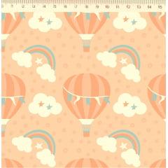 Tecido Tricoline Balões, Nuvens e Arco Íris - Fundo Salmão - Preço de 50 cm x 150 cm