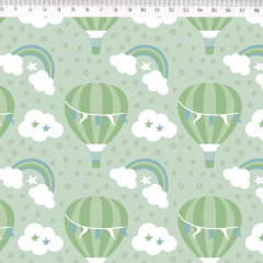 Tecido Tricoline Balões, Nuvens e Arco Íris - Fundo Verde - Preço de 50 cm x 150 cm