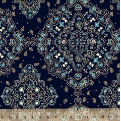 Tecido Tricoline Bandana Azul Marinho