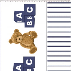 Tecido Tricoline Barrado de Urso Marinho - Coleção Teddy Bear - Preço de 50 cm x 150 cm