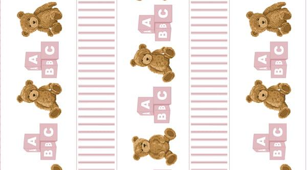 Tecido Tricoline Barrado de Urso Rosa - Fundo Branco - Coleção Teddy Bear