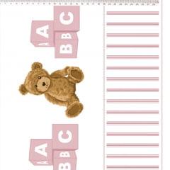 Tecido Tricoline Barrado de Urso Rosa - Fundo Branco - Coleção Teddy Bear - Preço de 50 cm x 150 cm