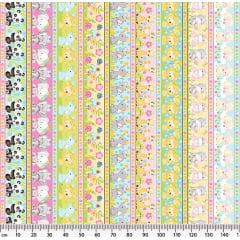 Tecido Tricoline Barrado Safari - Fundo Colorido - Preço de 50 cm x 150 cm