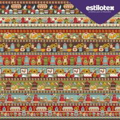 Tecido Tricoline Barrados - Coleção Girassol - Preço de 60 cm x 150 cm