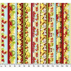 Tecido Tricoline Barrados de Frutas