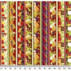 Tecido Tricoline Barrados de Vegetais - Preço de 50 cm x 150 cm