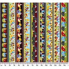 Tecido Tricoline Barrados Galinhas Divertidas - Preço de 50 cm x 150 cm